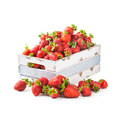 Strawberry in crate fresh strawberries old wooden isolated on white background healthy eating object with clipping path Stock Images