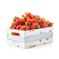 Strawberry in crate fresh strawberries old wooden isolated on white background healthy eating object with clipping path Royalty Free Stock Photos