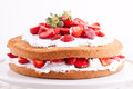 Strawberry cream cake on a white background Royalty Free Stock Photo