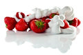 Strawberry with cream on white reflexive background isolated Royalty Free Stock Photography
