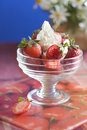 Strawberry with creamy custard Royalty Free Stock Photo