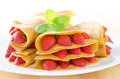 Strawberry crepe or pancake with maple syrup inside Royalty Free Stock Photo
