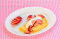 Strawberry Crepe on Pink Gingham Royalty Free Stock Photo