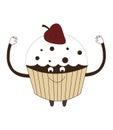Strawberry cupcake vector illustration cartoon on white