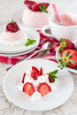 Strawberry dessert bavarian cream mousse pudding Stock Images