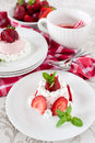 Strawberry dessert bavarian cream mousse pudding Royalty Free Stock Photography