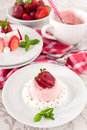 Strawberry dessert bavarian cream mousse pudding Royalty Free Stock Photo
