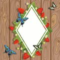 Strawberry diamond border. Vector illustration of strawberry text frame with leaves, flowers and butterflies on wooden background