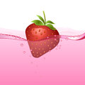 Strawberry drink with bubbles and fruit Stock Photos