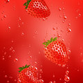 Strawberry falling in liquid illustration of a Royalty Free Stock Image