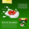 Strawberry flavor yogurt ad, with milk splashing and strawberry elements, Royalty Free Stock Photo