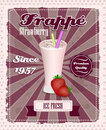 Strawberry frappe poster with drinking strew, fruit and glass in retro style Royalty Free Stock Photo