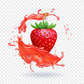 Strawberry fresh juice. Fruit realistic vector icon