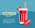 Strawberry fresh smoothie for vegetarian menu or diet flyer vector illustration Royalty Free Stock Photos