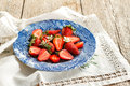 Strawberry fresh strawberries in a blue vintage plate Stock Photography