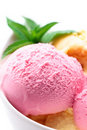 Strawberry fruit ice cream Stock Photo