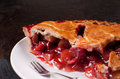 Strawberry fruit pie and fork eating Royalty Free Stock Photos