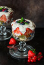 Strawberry fruit salad with honey yoghurt Royalty Free Stock Photo