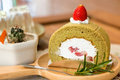 Strawberry green tea cake Royalty Free Stock Photo