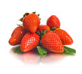 Strawberry group of the big red beauty on white background isolated Stock Images