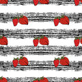 Strawberry hand drawn pattern on black strips