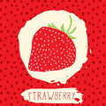 Strawberry hand drawn sketched fruit with leaf on red background with dots pattern. Doodle vector strawberry for logo, label, bra