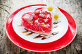 Strawberry heart cake dessert on Valentines Day , classic Valent