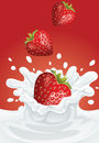 Strawberry heart milk red background Royalty Free Stock Photography