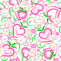 Strawberry hearts and flowers seamless texture Royalty Free Stock Photography