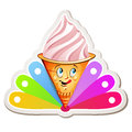 Strawberry ice cream cartoon with colored background Royalty Free Stock Image