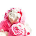 Strawberry ice cream ice cream balls close up Royalty Free Stock Photo