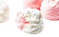 Strawberry ice cream macro beautiful ice cream ball balls close up Royalty Free Stock Photography