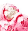 Strawberry ice cream macro beautiful ice cream balls close up scoop Royalty Free Stock Image