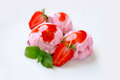 Strawberry Ice cream with mint Royalty Free Stock Photo
