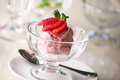 Strawberry ice cream sundae Royalty Free Stock Photo