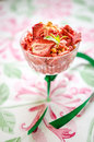 Strawberry ice cream vegan with oregano and fudge Stock Photography