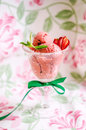 Strawberry ice cream vegan with oregano in glass cup Royalty Free Stock Images