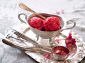 Strawberry ice cream in vintage bowl selective focus Stock Image