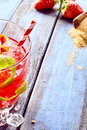 Strawberry ice slush beverage with copy space Royalty Free Stock Photo