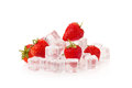 Strawberry on  ice on a white background Royalty Free Stock Photo
