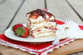 Strawberry Icebox Cake Stock Photo