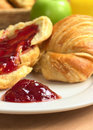 Strawberry Jam with Croissants Stock Images
