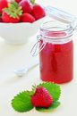 Strawberry jam fresh homemade with bowl of strawberries Stock Photos