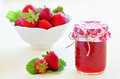 Strawberry jam fresh homemade with bowl of strawberries Royalty Free Stock Photo