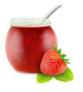 Strawberry jam isolated on white Royalty Free Stock Photos