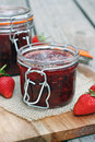 Strawberry jam jar of homemade Royalty Free Stock Photo