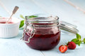 Strawberry jam in a jar Royalty Free Stock Photo