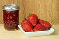 Strawberry jam or jelly with strawberries Royalty Free Stock Image