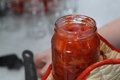 Strawberry jam in the polish kitchen preparing a delicious Royalty Free Stock Image
