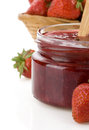 Strawberry jam on white Royalty Free Stock Photography